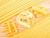 Olika typer av italiensk pasta — Stockfoto