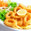 Deep batter fried squid rings calamari with green salad — Stock Photo #5249898