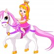 Little princess on horse — Stock Vector