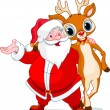Santa and his reindeer Rudolf - Stock Vector