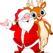 Santa and his reindeer Rudolf — Stock Vector #4295520