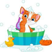 Cat having a bath — Stock Vector