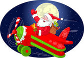 Santa is flying in an airplane — Stock Vector