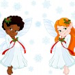 Stock Vector: Little Christmas fairies