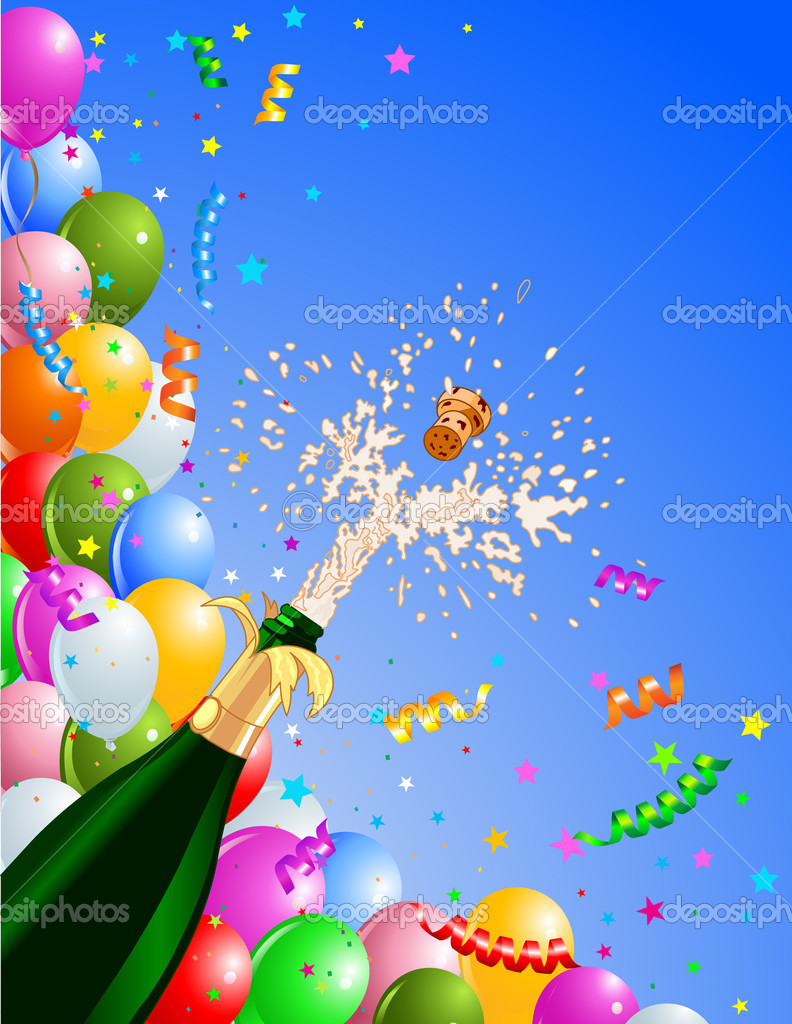 Celebration  background with  Champagne and balloons. Best for New Year — Stock Vector #4312747