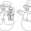 Two black and white snowmen for coloring — Stock Vector #4341709