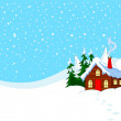 Little house in snowy hills — Stock Vector