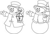Two black and white snowmen for coloring — Stock Vector