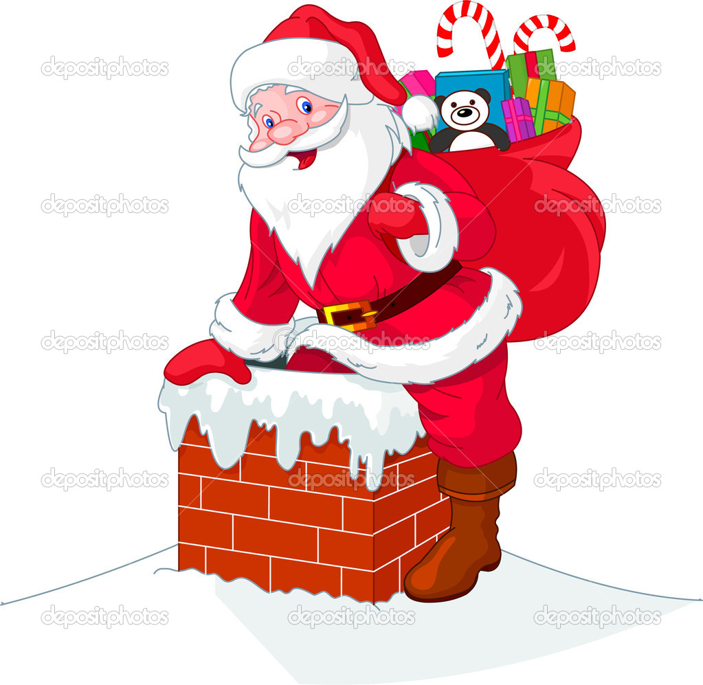 Santa Claus descends the chimney. He keeps a bag of gifts. — Stock Vector #4341702