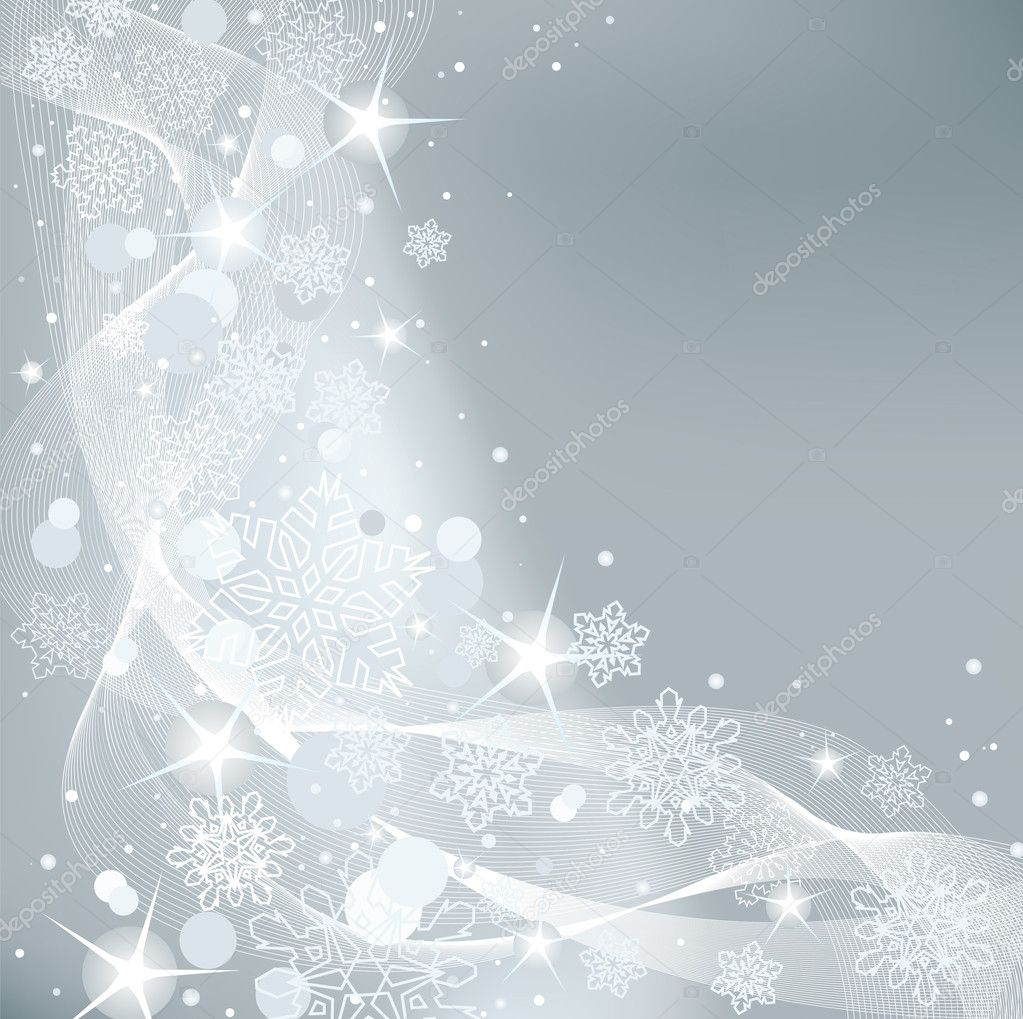 Gray abstract Christmas background with white snowflakes  Stock Vector #4341720