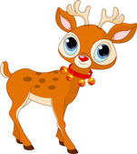 Beautiful cartoon reindeer Rudolf — Stock Vector