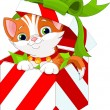 Kitten in a Christmas  gift box — Stock Vector