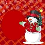 pupazzo di neve con albero di Natale posto card — Vettoriale Stock