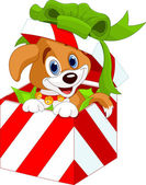 Puppy in a Christmas gift box — Stock Vector