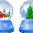 Stock Vector: Two Christmas Snow Globes
