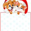 Christmas Cat and dog sign — Stock Vector