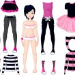 Girl with dresses . Emo stile — Vector de stock #4425440