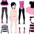 Girl with dresses . Emo stile — Stockvector #4425440