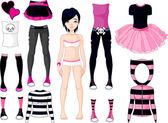 Chica con vestidos. estilo emo — Vector de stock