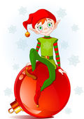 Christmas Elf sitting on Christmas ball — Stock Vector