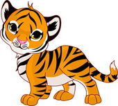 Walking baby tiger — Stock Vector