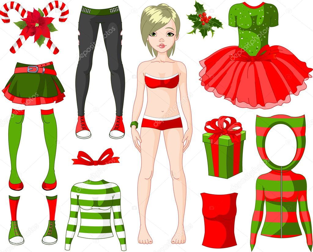 Download girl with christmas dresses stock illustration 4454471