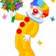 Cute Clown with flowers — 图库矢量图片