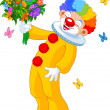 Cute Clown with flowers — ストックベクタ