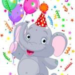 Baby elephant birthday — Stock Vector