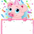 Piglet Birthday — Stock Vector
