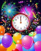 New Year midnight clock background — Stock Vector