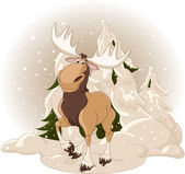 Moose against a snowy forest — Stock Vector