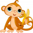 Funny Monkey with banana — Imagen vectorial