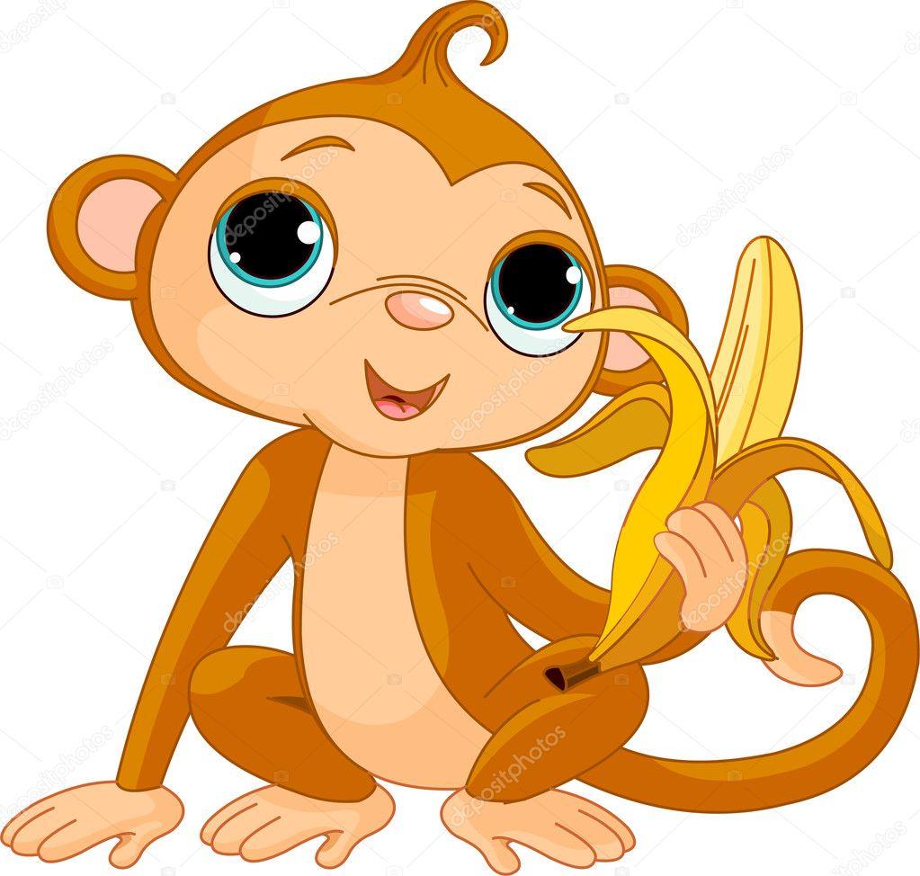 Monkey with banana clip art