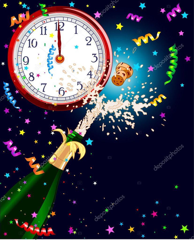 Celebration  background with Champagne and clock. Best for New Year — Stock Vector #4521967