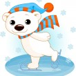 Polar bear on ice skates — Vector de stock