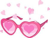 Valentýna růžové brýle — Stock vektor