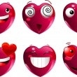 Set of heart shape emoticons — Stock Vector