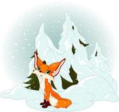 Roztomilý fox proti zasněžený les — Stock vektor