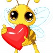 Cute Bee holding Love heart - Stock Vector