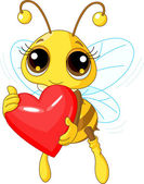 Cute Bee holding Love heart — Stock Vector