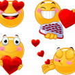 Stock Vector: set of valentines smileys emoticons