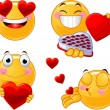 Set of Valentines smileys emoticons - Stock Vector
