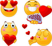 Set of Valentines smileys emoticons — Stock Vector
