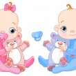 Cute twins with toys — Stock Vector