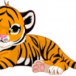 Stock Vector: Little tiger cub resting