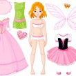 Girl with different princess dresses - Stock Vector