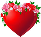 Czerwone serce towarzyszyło róż — Wektor stockowy