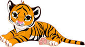 Little tiger cub resting — Stock Vector