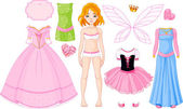 Girl with different princess dresses — Stock Vector
